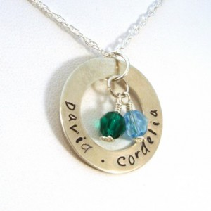 Handmade Mothers Day Gifts - Personalized Mother's Necklace with Two Birthstones