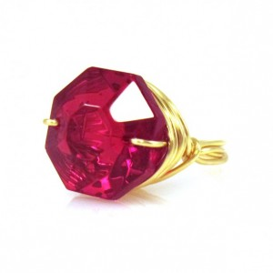 Handmade Mothers Day Gifts - Red Cocktail Ring with gold setting