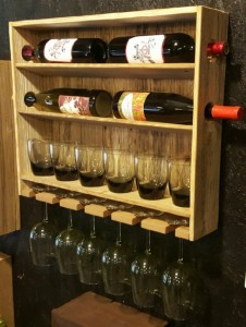 Mothers Day Gifts - Country Rustic Wine Rack with Stemmed and Stemless Wine Glass Storage