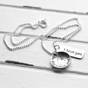 Mothers Day Gifts - I Love You To The Moon And Back Hand Stamped Necklace