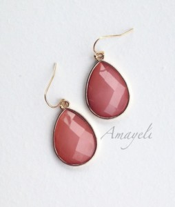 Mothers Day Gifts - Teardrop salmon drop earrings