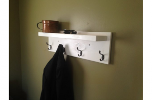Rustic-Style Coat Rack with Oil Rubbed Bronze Hooks