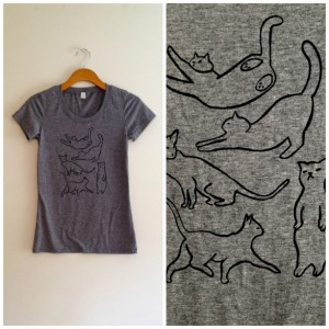 Unique Mother's Day Gifts Under 25 - Black and Gray Screen-print Cat Shirt