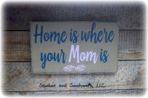 Unique Mother's Day Gifts Under 25 - Home is Where Your Mom Is - Wooden Painted Sign