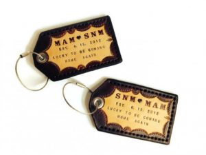 Fathers Day - Handmade His and Her Leather Luggage Tags. Personalized