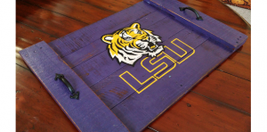 Fathers Day - Handmade LSU Tigers Reclaimed Wooden Serving Tray
