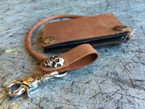 Fathers Day - Mens Window & Zipper Wallet, With 24 in Leather Braided Chains