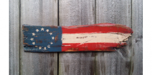 Fathers Day - Rustic Reclaimed Distressed Pallet Wood Amercan Flag Sign