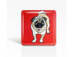 Handmade Gifts for Dad - DOG Art- Red PUG - Glass MAGNET By Artist A.V.Apostle