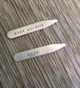 Under 25 Fathers Day - Hand stamped stainless steel collar stays personalized gift