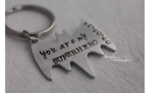 Under 25 Fathers Day - Men's Personalized Batman Superhero Keychain