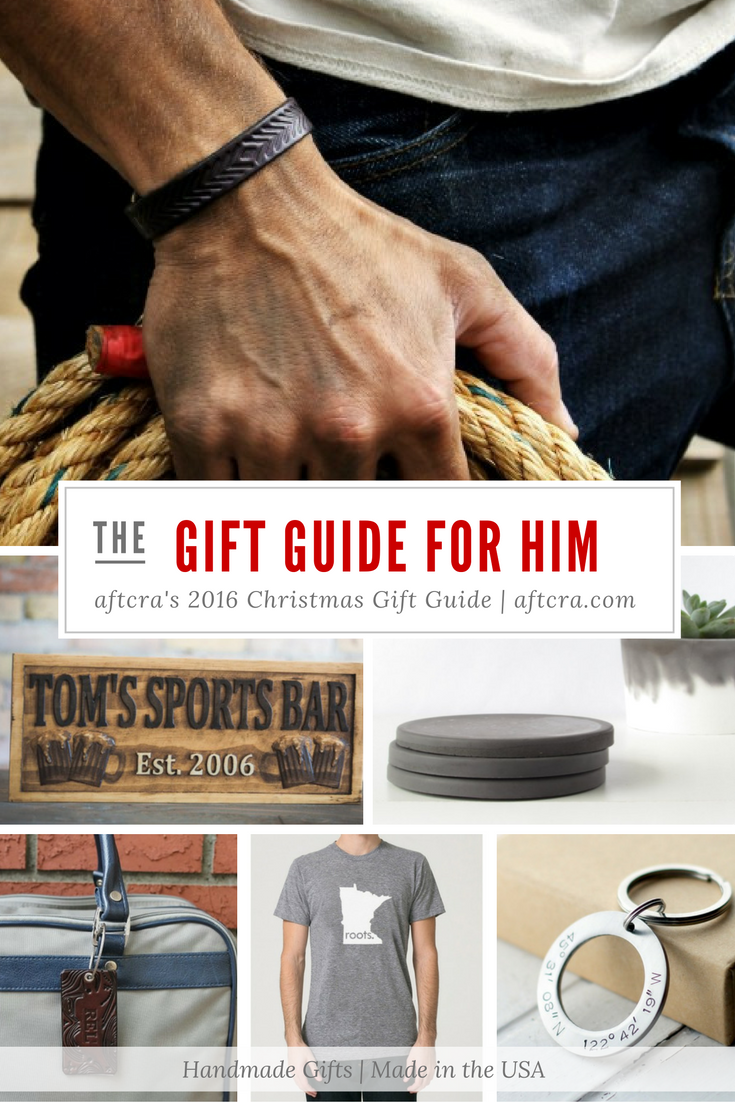aftcra's 2016 Christmas Gift Guide for Him - Unique Christmas Gifts For Him - Handmade gift ideas for her - aftcra - gifts - handcrafted gifts - American made gifts - Made in USA gifts for Father Brother Boyfriend Son Friend