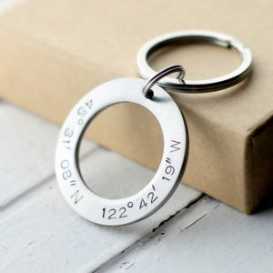 Hand-Stamped Stainless Steel Coordinates Keychain-Christmas-2015-Gifts-for-Him-Handmade-USA-Made-Gift-Ideas-For-Him